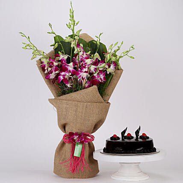 Purple Orchids Bunch & Truffle Cake Combo: