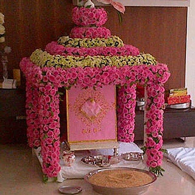Radiant Ganpati Temple Decoration: Exotic Rose Arrangements