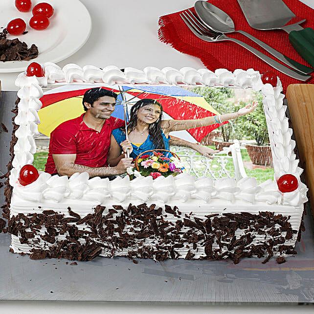 Rectangular Black Forest Photo Cake: Send Photo Cakes