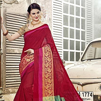Red Art Silk Saree: Apparel Gifts