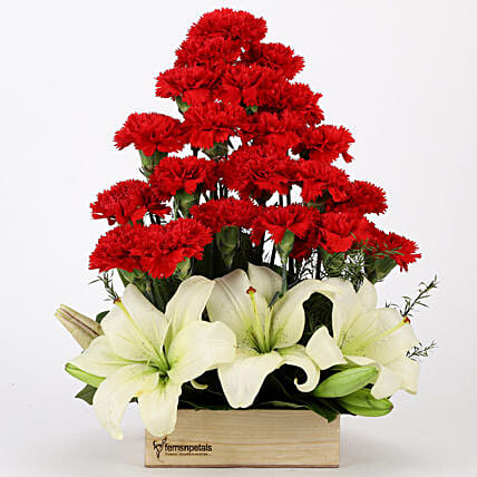 Red Carnations & Lilies Exotic Arrangement: Carnations