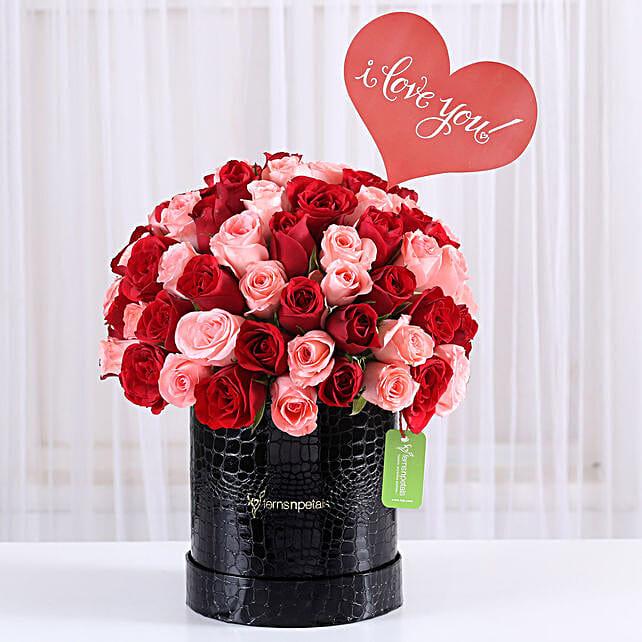 Red & Pink Rose Box Arrangement: