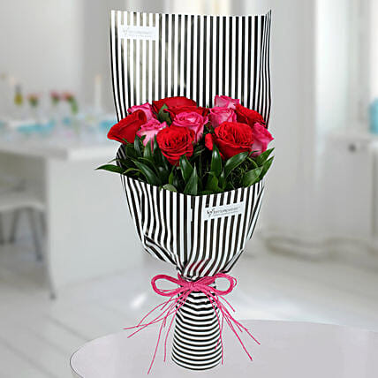Red N Pink Roses Bunch: