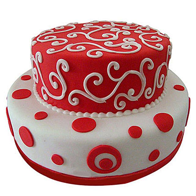 Red N White Fondant Cake: Multi Tier Cakes