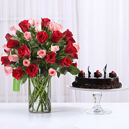 Red & Pink Roses With Truffle Cake: Flowers & Cake Combos
