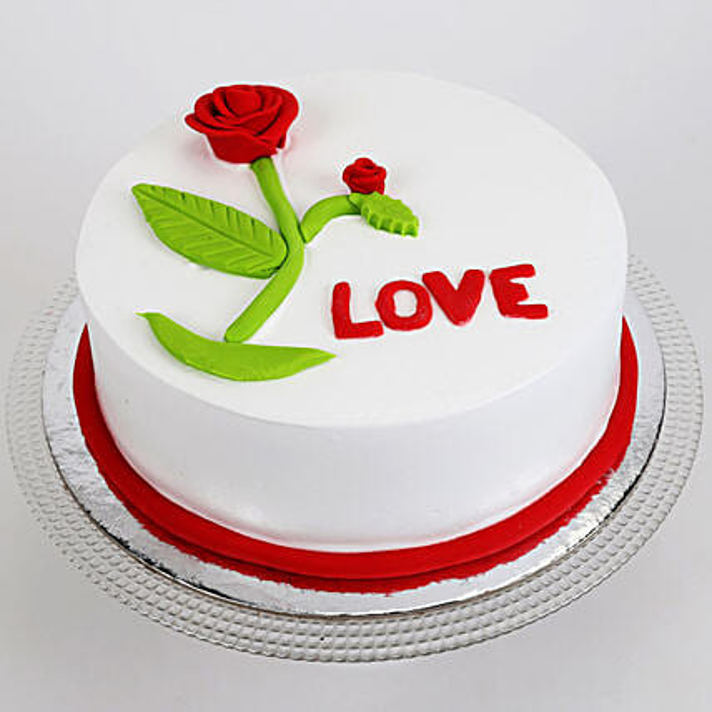 Red Rose Love Cake: Send Valentines Day Designer Cakes