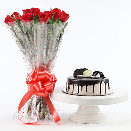 Red Roses And Chocolate Cake Combo: Anniversary Gift Combos