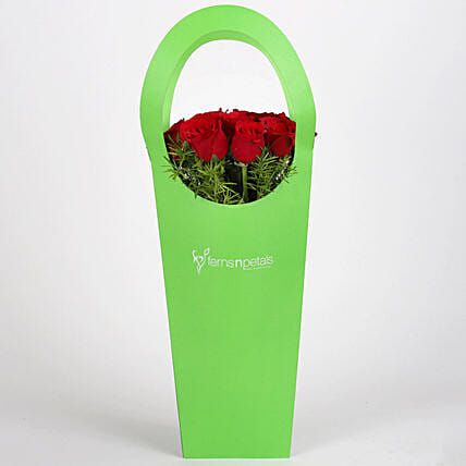 Red Roses in Green Sleeve Bag: