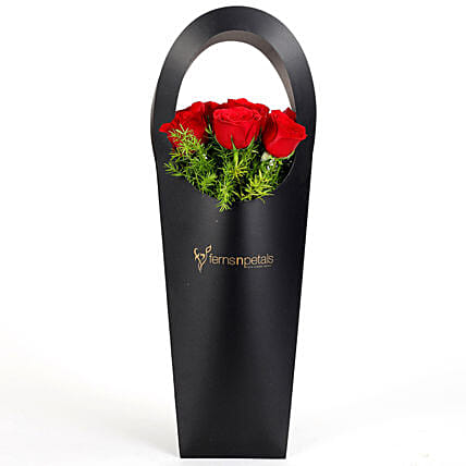 Red Roses in Stylish Black Sleeve: Send Roses