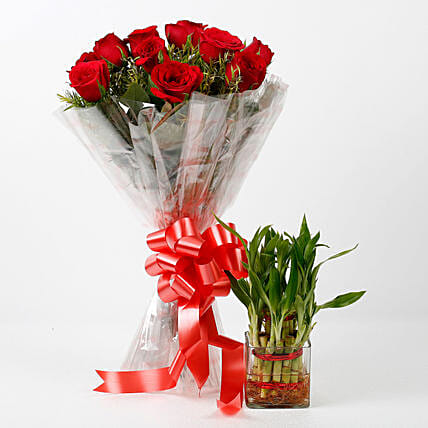 Red Roses & Two Layer Lucky Bamboo Combo: