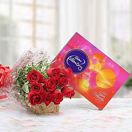 Red Roses With Cadbury Celebrations: Cadbury Chocolates