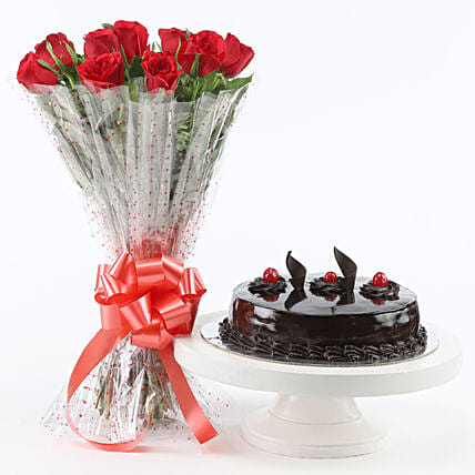 Red Roses With Truffle Cake Birthday Gifts For Girlfriend