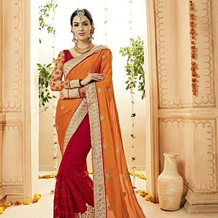 Red Satin and Faux Georgette Wedding Embroidered Saree: Saree Gifts
