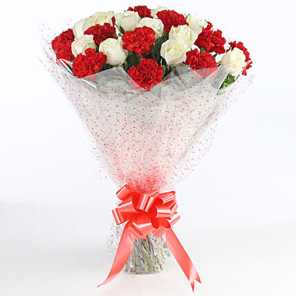 Red & White Carnations Bunch: Mixed flowers