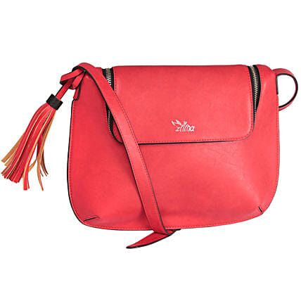 Red White Sling Bag: Gifts to India