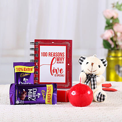 Romantic 100 Reasons Love Book Combo: Cadbury Chocolates