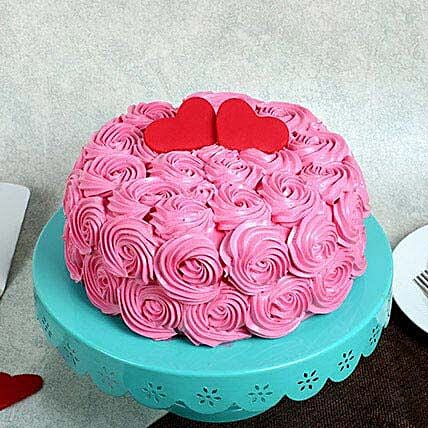 Rose Cream Valentine Cake: Cakes for 25Th Anniversary