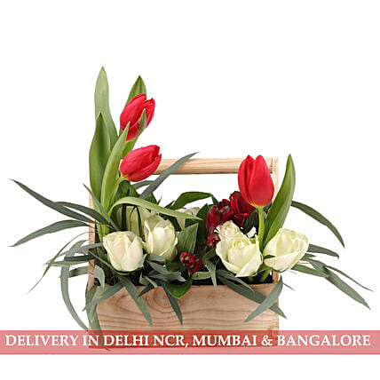 Roses, Alstroemeria & Orchids in Basket: Send Tulips