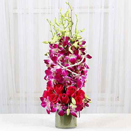 Roses And Orchids Vase Arrangement: Send Orchids