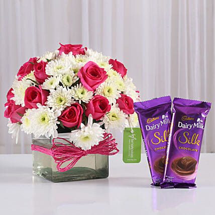 Roses & Daisies Vase with Dairy Milk Silk: