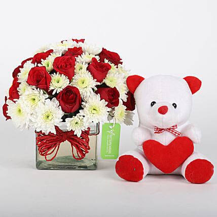 Roses & Daisies Vase with Teddy Bear Combo: Flowers & Teddy Bears