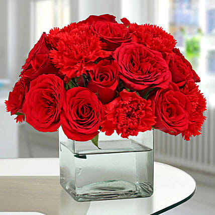 Roses N Carnations Arrangement: Send Carnations