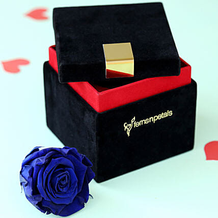 Royal- Forever Blue Rose in Velvet Box: Flower Delivery in Tiruvannamalai