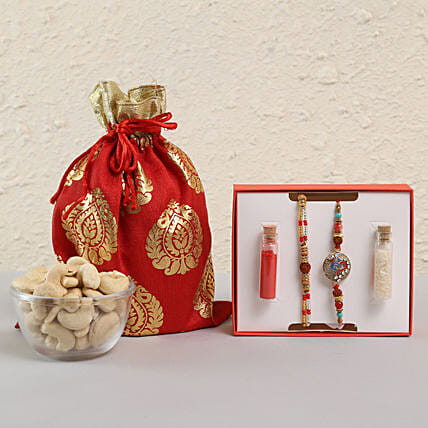 Rudraksh Rakhi Combo & Cashews: Rakhi for Brother