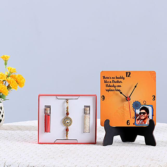 Rudraksh Rakhi & Personalised Table Clock Combo: Kundan Rakhi