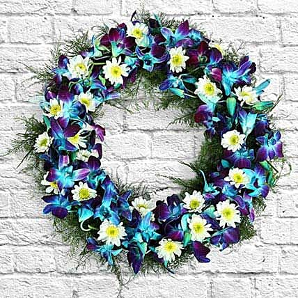 Serene Flower Wreath: Gifts to India