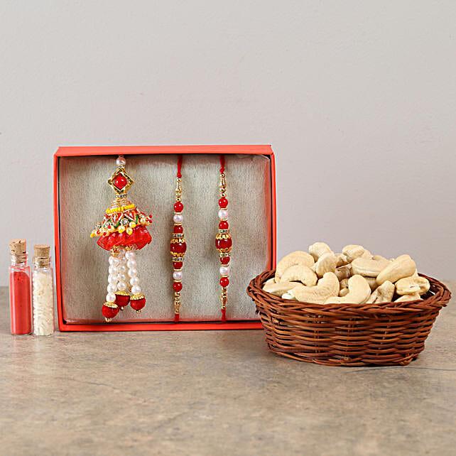 Set Of 3 Graceful Rakhis & Cashews Combo: Family Rakhi Set