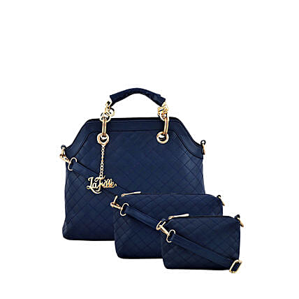 Set of 3 LaFille Blue Handbags: Buy Handbags