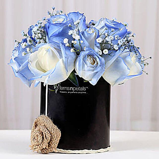 Shaded Love- Blue Roses Arrangement: Fresh Flower Arrangement