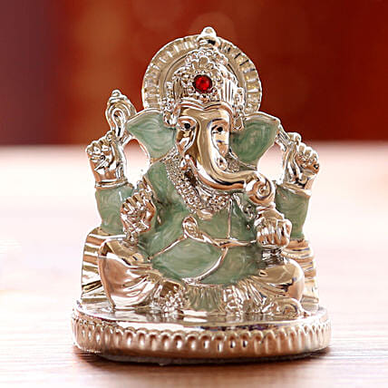 Silver Plated Ganesha Idol- Green: Gifts to India