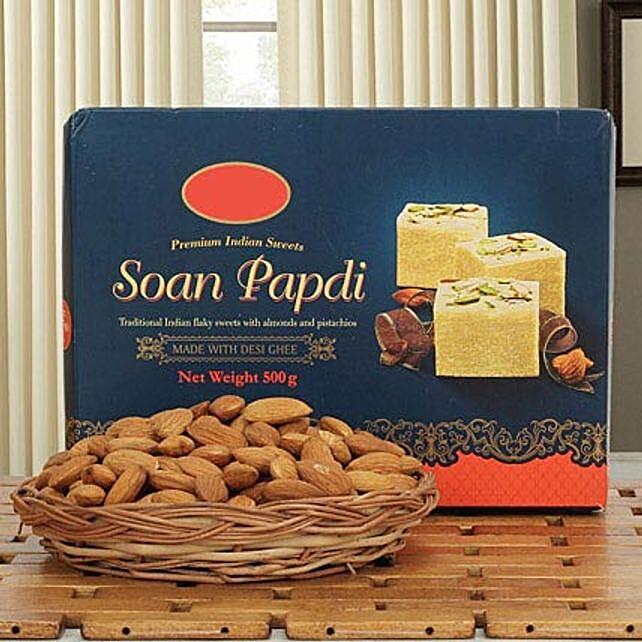 Soan N Almond Hamper: Sweets & Dry Fruits for Bhai Dooj