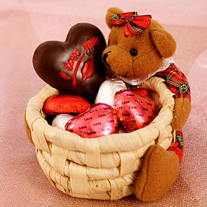 Special Basket Of Teddy & Chocolates: Romantic Gifts