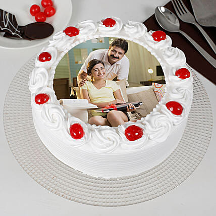 Specially For Dad Pineapple Cream Photo Cake: Send Photo Cakes