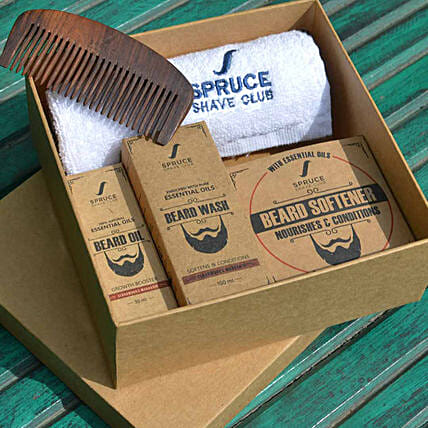 Spruce Shave Club Beard Care Trio- Cedarwood & Mandarin: Cosmetics & Spa Hampers