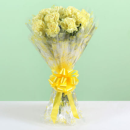 Sunny Bunch- 12 Yellow Carnations Bouquet: Send Carnations