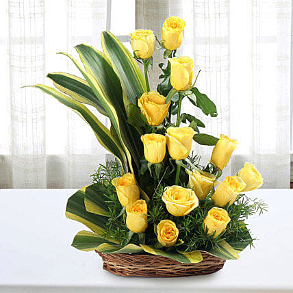 Sunshine Yellow Roses Bouquet: Gifts to India
