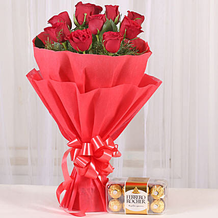 Red Roses & Ferrero Rocher Combo: Chocolate Bouquet