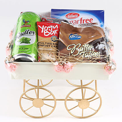 Sweet Hamper In Pink Handcart: Send Gift Hampers