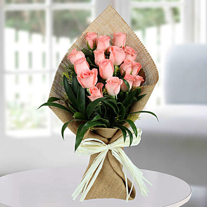 Sweet Pink Roses Bunch: