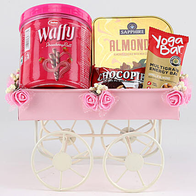 Sweet & Savoury Hamper In Pink Handcart: Anniversary Sweets