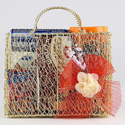 Sweet Snack Hamper In Mesh Bag: Birthday Gift Hampers