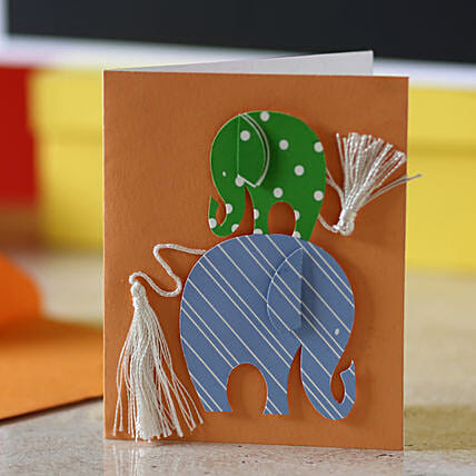 Tassel Tail Elephant Greeting Card: Greeting Cards