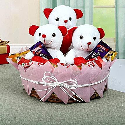 Teddy and Chocolate Basket: Send Chocolate Bouquet