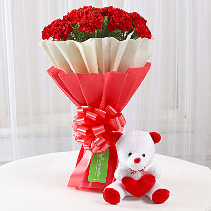 Teddy Bear & 12 Red Carnations Bouquet: Carnations