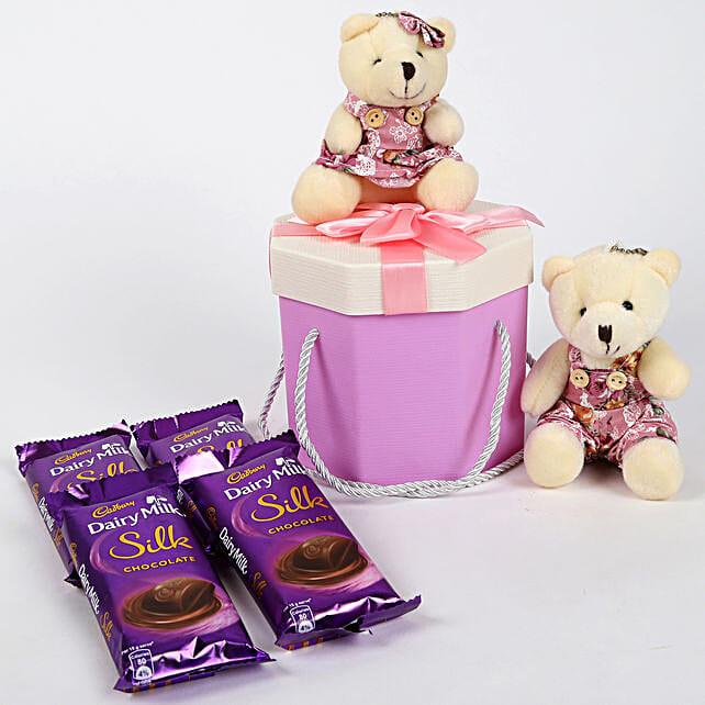 Teddy Bear & Chocolates Purple Box: Chocolate Gifts in India