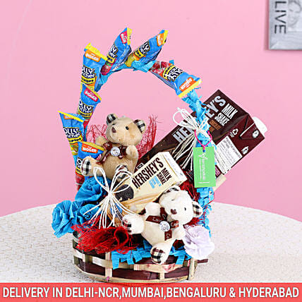Teddy & Treats Hershey's Gift Basket: Karwa Chauth Gift Baskets